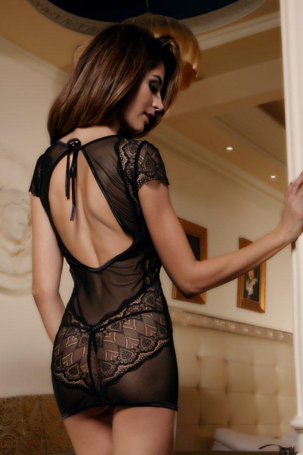 XL XL Платье Candy Girl с открытой спиной и стринги, чёрные, Категория - Белье и одежда/Женское нижнее белье/Комбинации, ночные сорочки, пеньюары, Атрикул 0T-00011113 Изображение 3