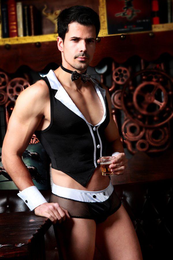 One Size Костюм официанта Candy Boy Archer (майка, трусы, манжеты, галстук-бабочка) черно-белый, OS, Категория - Белье и одежда/Мужская одежда и белье/Игровые костюмы, Атрикул 0T-00011794 Изображение 1