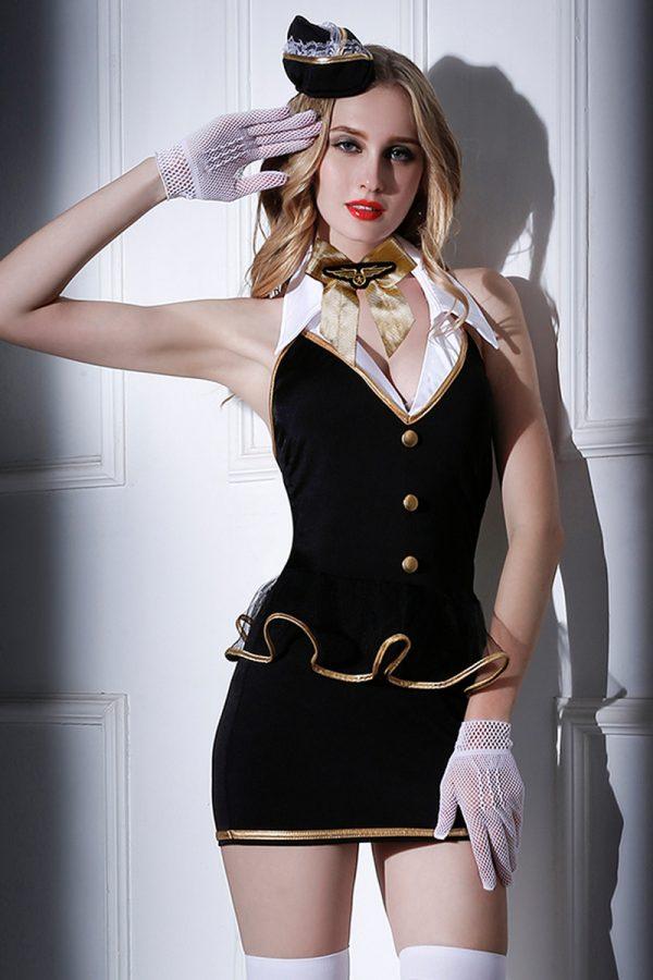 One Size Костюм стюардессы Candy Girl Amber (платье, трусы, перчатки, чулки, галстук, головной убор), черно-белый, OS, Категория - Белье и одежда/Женская одежда и белье/Игровые костюмы, Атрикул 0T-00011788 Изображение 1