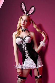 One Size Костюм зайки Candy Girl Charity (платье с пажами, трусы, головной убор, галстук, чулки, манжеты), черно-белый, OS, Категория - Белье и одежда/Женская одежда и белье/Игровые костюмы, Атрикул 0T-00011782 Изображение 1