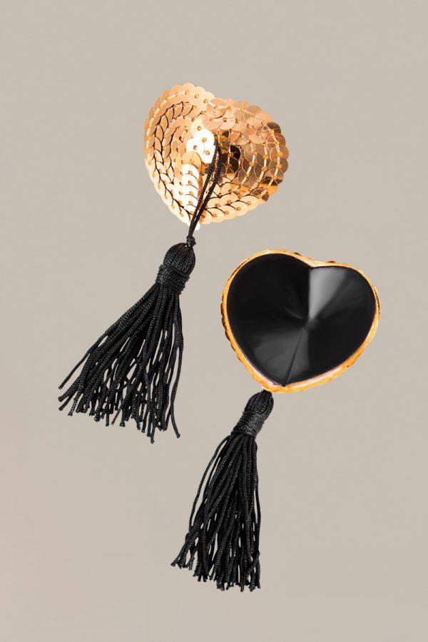 Пэстис Waname Apparel Hearts with tassels в форме сердец с кисточками золотисто-черные, Категория - Белье и одежда/Аксессуары для белья и одежды/Украшения на грудь, Атрикул 0T-00012009 Изображение 2