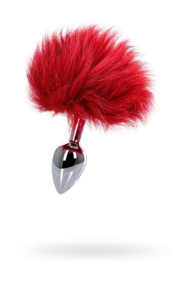 Анальная втулка с Красным заячьим хвостом, металл, Ø 2,8 см, Категория - Секс-игрушки/Анальные игрушки/Анальные втулки с украшениями, Атрикул 0T-00011856 Изображение 1
