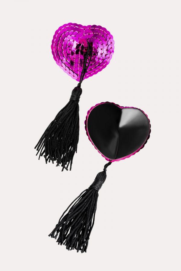 Пэстис Erolanta Lingerie Collection в форме сердец с кисточками ярко-розово-черные, Категория - Белье и одежда/Аксессуары для белья и одежды/Украшения на грудь, Атрикул 0T-00011983 Изображение 2
