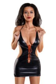 L Платье Glossy из материала Wetlook с красной шнуровкой, черный, L, Категория - Белье и одежда/Женская одежда и белье/Эротические платья, юбки, Атрикул 0T-00011960 Изображение 1