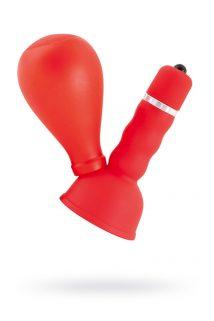 Вибратор на сосок TOYFA Black&Red с грушей красный, Категория - Секс-игрушки/Стимуляторы клитора и наружных интимных зон/Вибромассажеры клитора и наружных интимных зон, Атрикул 0T-00000633 Изображение 1