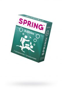 Презервативы Spring Bubbles, с точечной поверхностью, латекс, 3 шт, Категория - Презервативы/Рельефные и фантазийные презервативы, Атрикул 0T-00007134 Изображение 1