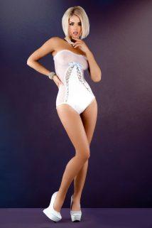 S/M Боди с двойной шнуровкой спереди Me Seduce Aurelie, белое, S/M, Категория - Белье и одежда/Женская одежда и белье/Боди и комбинезоны, Атрикул 0T-00012162 Изображение 1