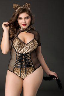 2XL Костюм кошки Candy Girl Tawny (боди, ушки) черно-леопардовый, 2XL, Категория - Белье и одежда/Женская одежда и белье/Игровые костюмы, Атрикул 0T-00012301 Изображение 1