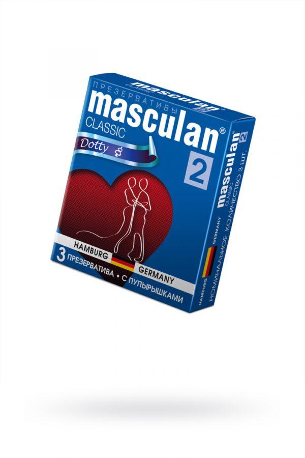 Презервативы Masculan Classic 2,  3 шт.  С пупырышками (Dotty)  ШТ, Категория - Презервативы/Рельефные и фантазийные презервативы, Атрикул 0T-00005538 Изображение 1