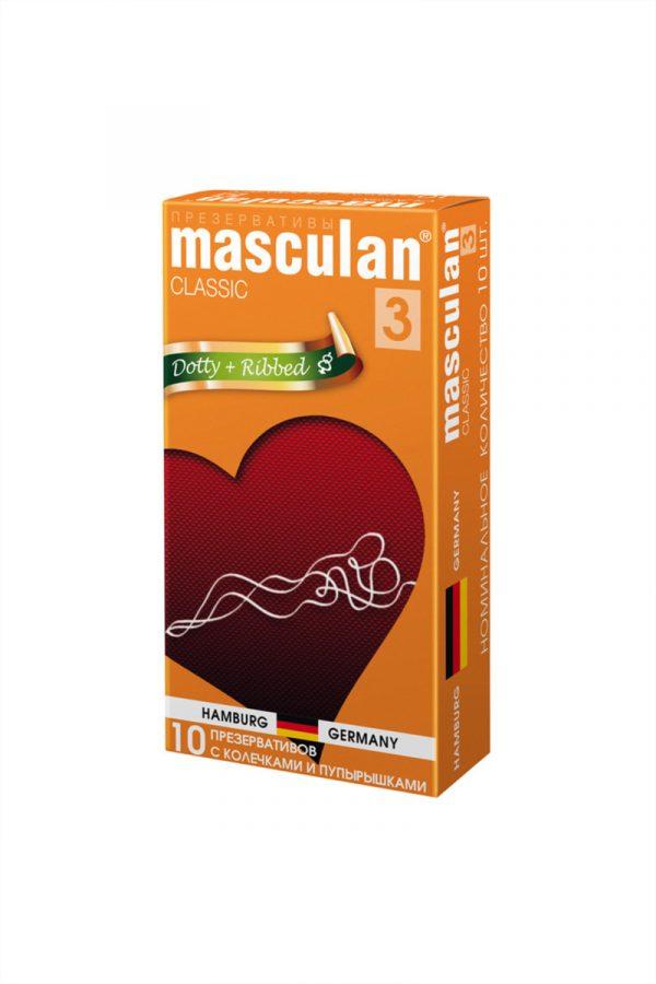 Презервативы Masculan Classic 3 , 10 шт.  С колечками и пупырышками (Dotty+Ribbed)  ШТ, Категория - Презервативы/Рельефные и фантазийные презервативы, Атрикул 0T-00005543 Изображение 2