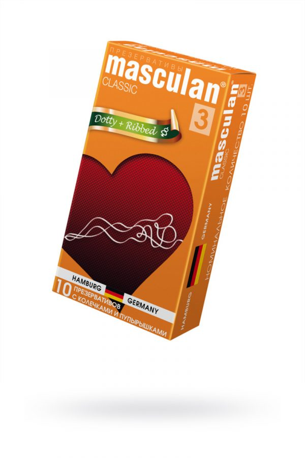 Презервативы Masculan Classic 3 , 10 шт.  С колечками и пупырышками (Dotty+Ribbed)  ШТ, Категория - Презервативы/Рельефные и фантазийные презервативы, Атрикул 0T-00005543 Изображение 1