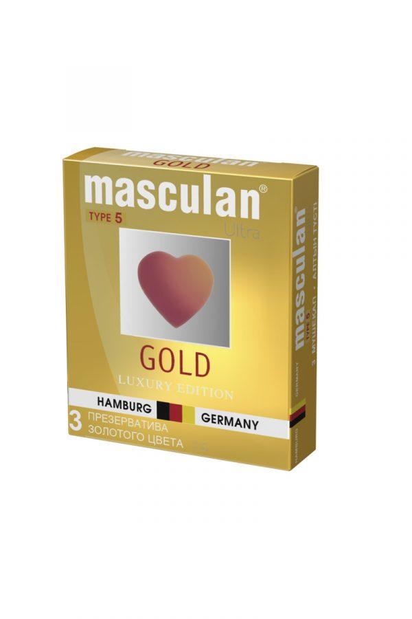 Презервативы Masculan 5 Ultra , 3шт Золотого цвета ШТ, Категория - Презервативы/Классические презервативы, Атрикул 0T-00005756 Изображение 3