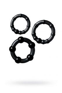 Набор из 3х колец Штучки-дрючки, силикон, чёрный, Ø 3,5/3/2 см, Категория - Секс-игрушки/Кольца и насадки/Наборы колец и насадок, Атрикул 0T-00012820 Изображение 1