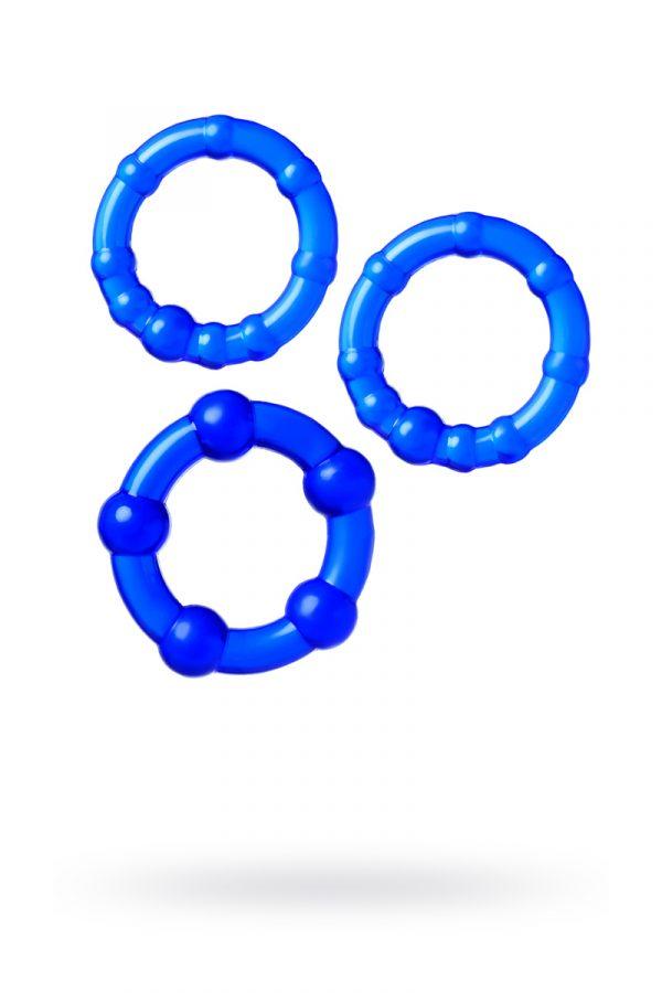 Набор из 3х колец Штучки-дрючки, силикон, синий, Ø 3,5/3/2 см, Категория - Секс-игрушки/Кольца и насадки/Наборы колец и насадок, Атрикул 0T-00012821 Изображение 1