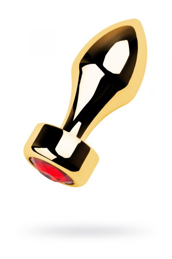Анальный страз Metal by TOYFA, металл, золотистый, с кристаллом цвета рубин, 7,5 см, Ø2,8 см, 75 г, Категория - Секс-игрушки/Анальные игрушки/Анальные втулки с украшениями, Атрикул 0T-00013487 Изображение 1