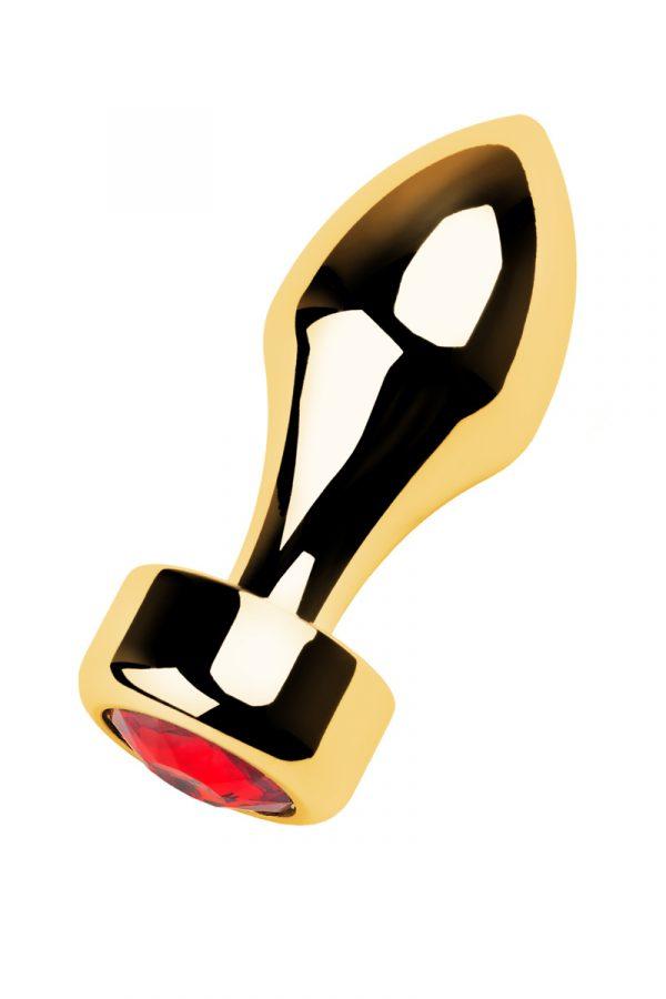 Анальный страз Metal by TOYFA, металл, золотистый, с кристаллом цвета рубин, 7,5 см, Ø2,8 см, 75 г, Категория - Секс-игрушки/Анальные игрушки/Анальные втулки с украшениями, Атрикул 0T-00013487 Изображение 2