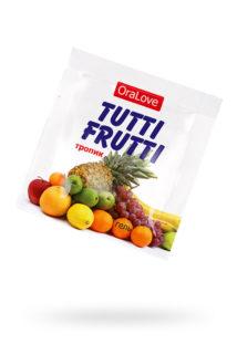 Съедобная гель-смазка TUTTI-FRUTTI для орального секса со вкусом экзотических фруктов ,4гр по 20 шт в упаковке, Категория - Гели, смазки и лубриканты/Съедобные гели и смазки, Атрикул 0T-00014756 Изображение 1