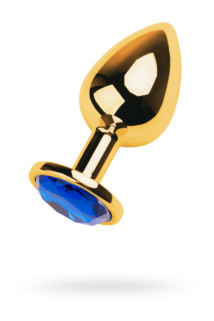 Анальная втулка Metal by TOYFA, металл, золотистая, с кристаллом цвета сапфир, 9,5 см, Ø 4 см, 145 г, Категория - Секс-игрушки/Анальные игрушки/Анальные втулки с украшениями, Атрикул 0T-00009485 Изображение 1