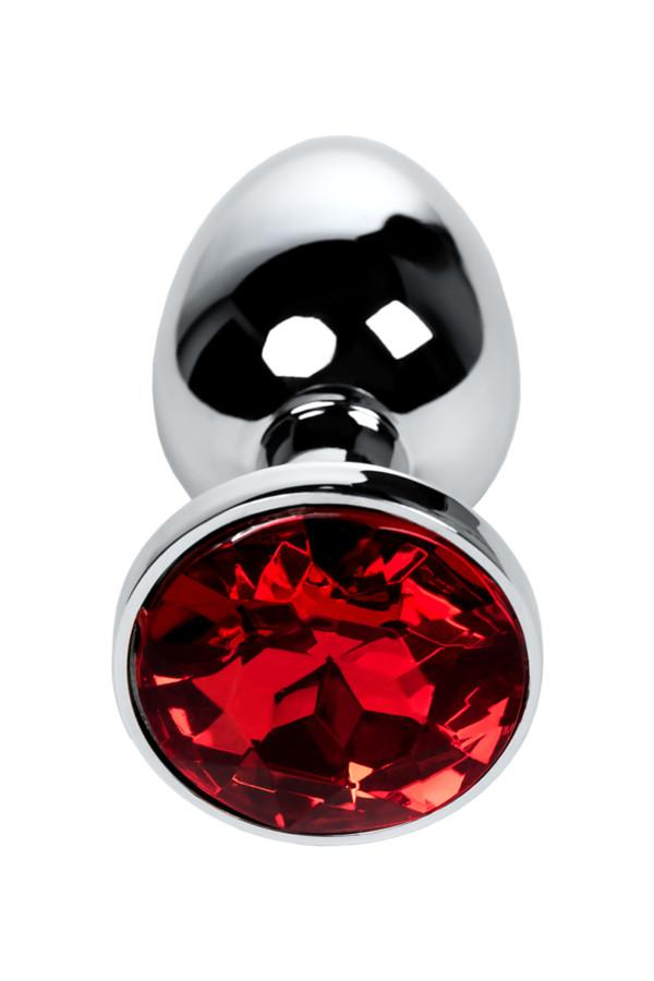 Анальная втулка Metal by TOYFA, металл, серебристая, с кристаллом цвета рубин, 7,1 см, Ø 2,7 см, 150 г, Категория - Секс-игрушки/Анальные игрушки/Анальные втулки с украшениями, Атрикул 0T-00009491 Изображение 2