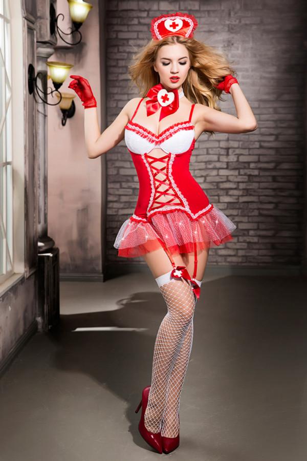 One Size Костюм медсестры Candy Girl Gesabelle (платье, перчатки, стринги, чулки, чокер, головной убор, банты), красно-белый, OS, Категория - Белье и одежда/Женская одежда и белье/Игровые костюмы, Атрикул 0T-00014421 Изображение 3