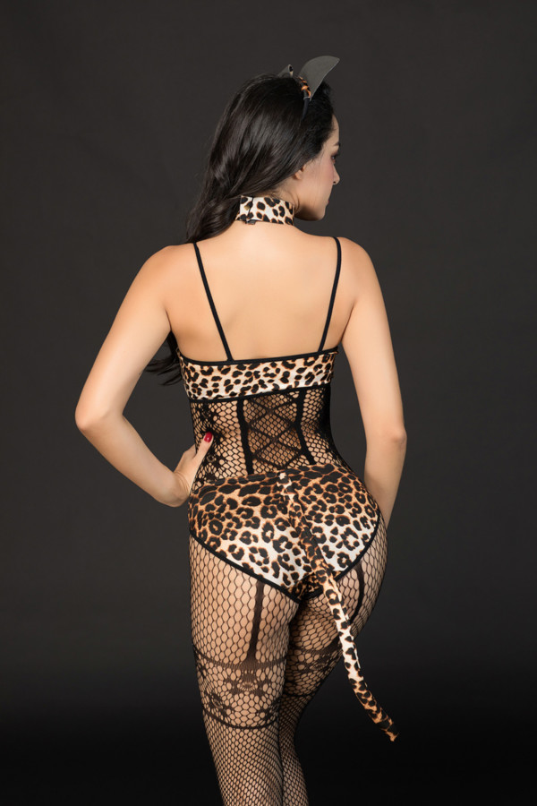 One Size Костюм кошки Candy Girl Kandi (костюм-сетка, топ, трусы с хвостом, чокер, головной убор), черно-леопардовый, OS, Категория - Белье и одежда/Женская одежда и белье/Игровые костюмы, Атрикул 0T-00014425 Изображение 2