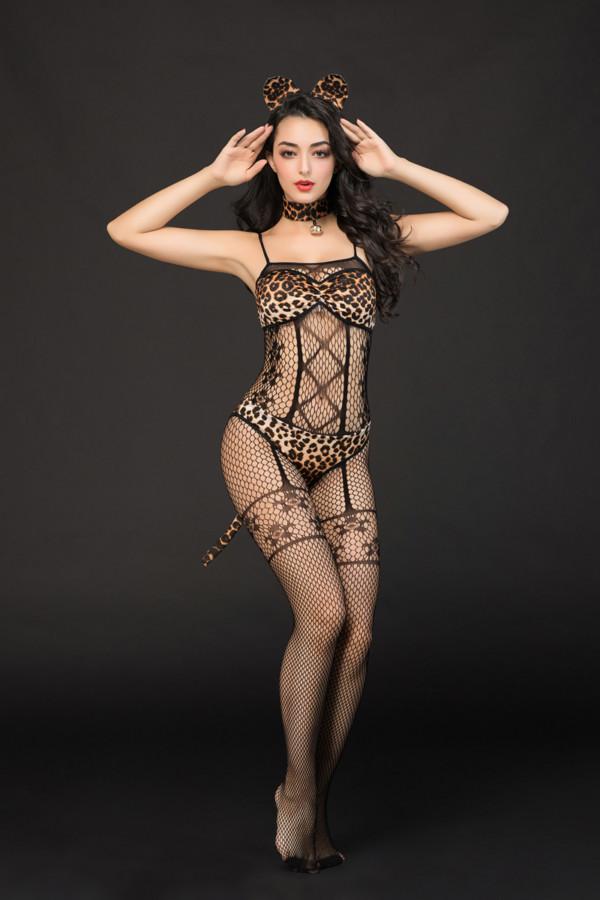 One Size Костюм кошки Candy Girl Kandi (костюм-сетка, топ, трусы с хвостом, чокер, головной убор), черно-леопардовый, OS, Категория - Белье и одежда/Женская одежда и белье/Игровые костюмы, Атрикул 0T-00014425 Изображение 3