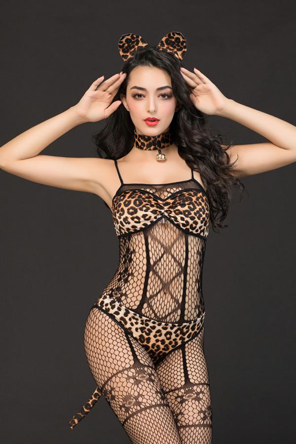 One Size Костюм кошки Candy Girl Kandi (костюм-сетка, топ, трусы с хвостом, чокер, головной убор), черно-леопардовый, OS, Категория - Белье и одежда/Женская одежда и белье/Игровые костюмы, Атрикул 0T-00014425 Изображение 1