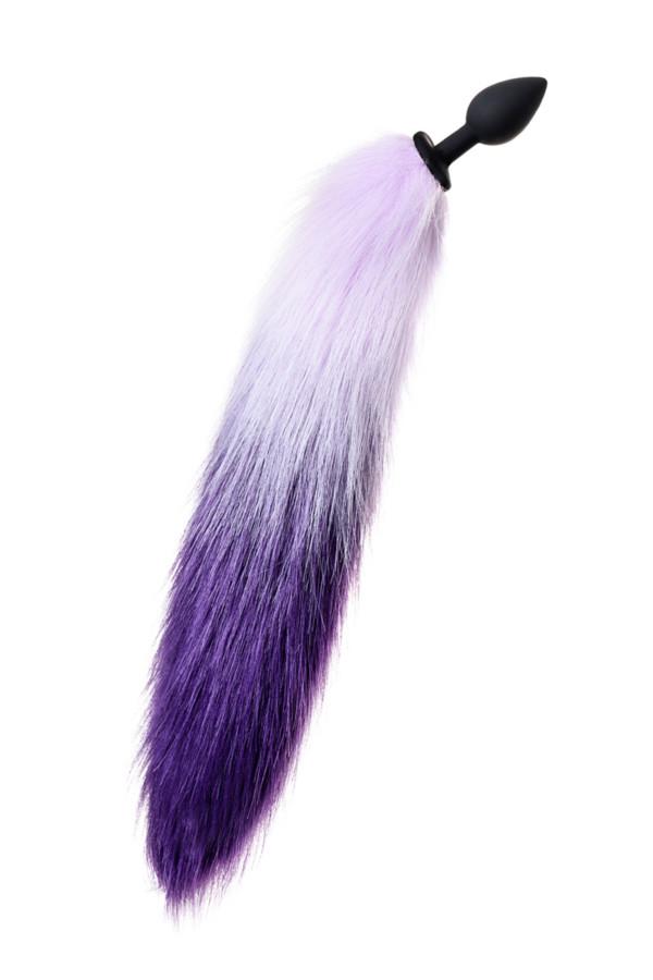 Анальная втулка с бело-фиолетовым хвостом POPO Pleasure by TOYFA, S, силикон, черная, 45 см, Ø 2,7 см, Категория - Секс-игрушки/Анальные игрушки/Анальные пробки и втулки, Атрикул 0T-00015228 Изображение 2