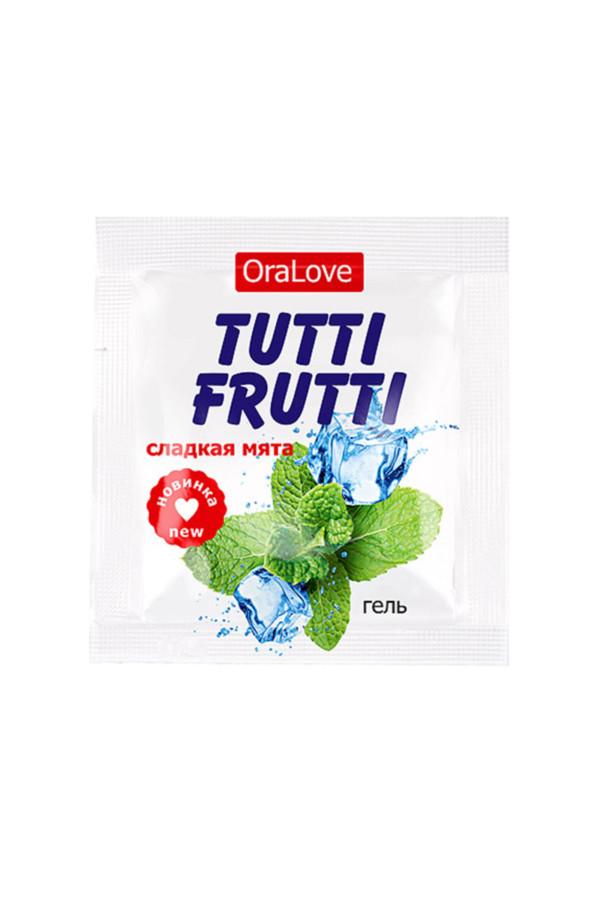 Съедобная гель-смазка TUTTI-FRUTTI для орального секса со вкусом сладкой мяты 4г по 20 шт в упаковке, Категория - Гели, смазки и лубриканты/Съедобные гели и смазки, Атрикул 0T-00016002 Изображение 2